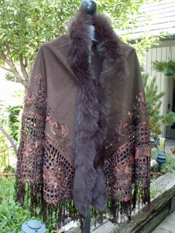 Brown Cashmere Cape with Silk and Fox