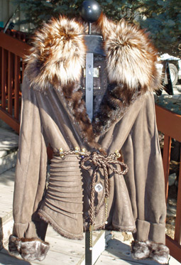 Brown Nappa Shearling w/Natural Amber fox